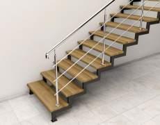 Крепление перил на деревянных ступенях